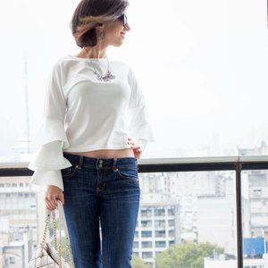Tops - White Frill Tiered Fluted Sleeve Top